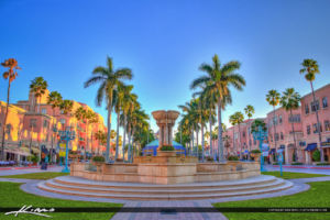 Mizner Park center water fountain in downtown Boca Raton, Florida in Palm Beach County. HDR photo created using Photomatix.