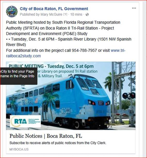 Public Outreach: December 5th ….Tri-Rail is Coming!