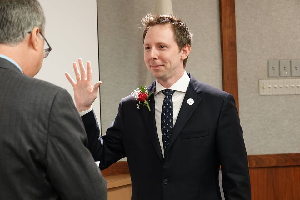 Jeremy Rodgers Swearing In After 2018 City Council Election
