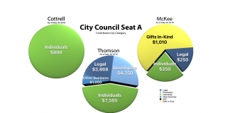 Campaign financing pie charts for Seat A